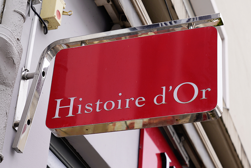 histoire d'or store logo commercial sign in the street for shop jewelry brand
