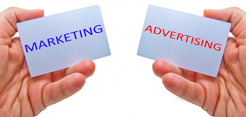 marketing versus advertising - mktg vs adv - for marketing and business concepts