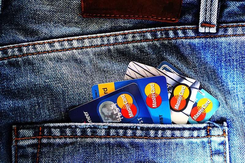 Master visa cards on jeans pocket