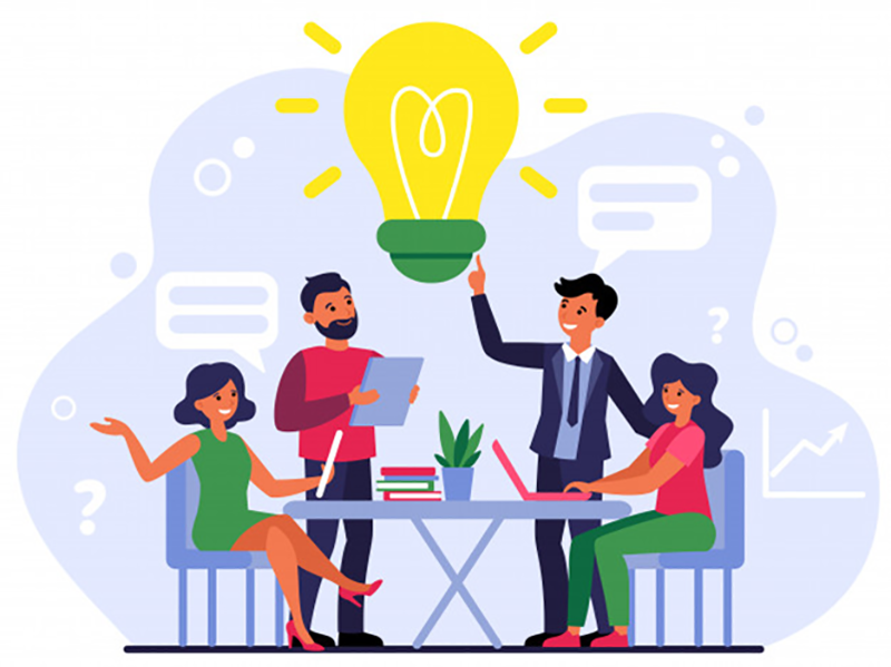 Company employees sharing thoughts and ideas - vector image