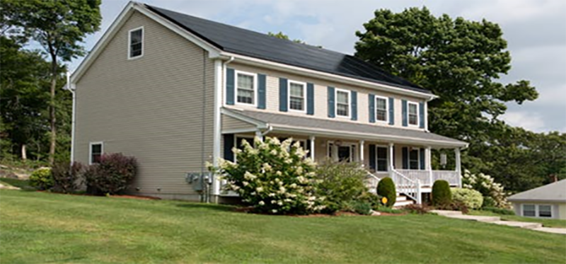 property with solar power roof panels