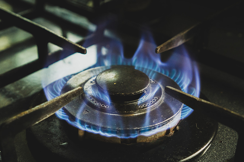 Stove with burner on