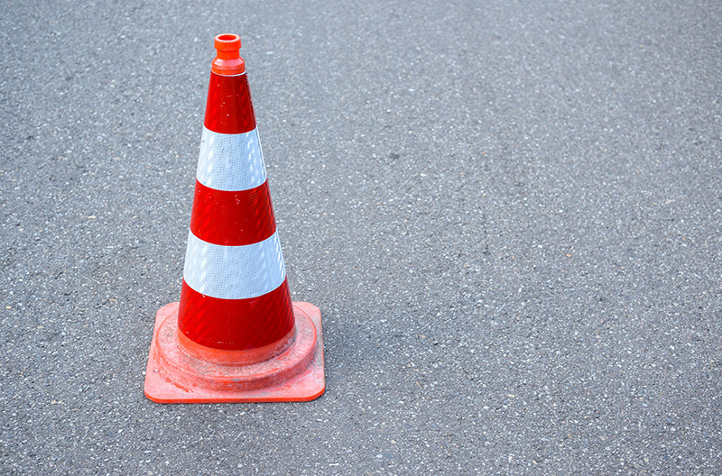 Safety cone road sign