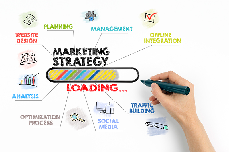 Person holding pen creating marketing strategy