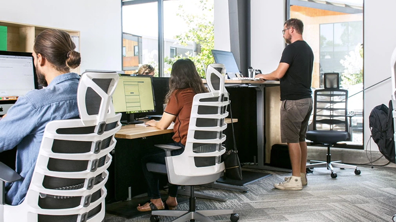 people in office sitting in ergonomic office chairs