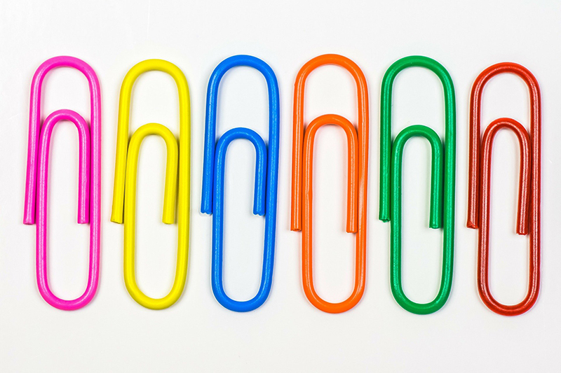 Office paper clip with different colors