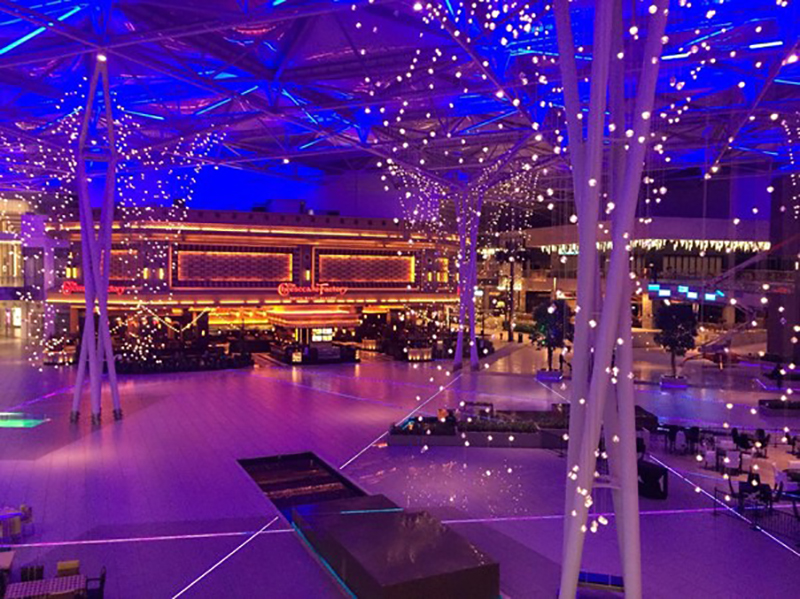 Colorful purple lights effect for an events venue