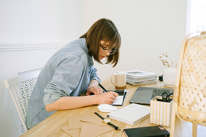 female employee working from home