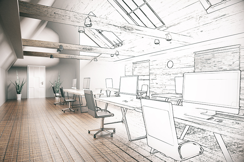Unfinished project of country style coworking office interior. 3D Rendering - office remodel