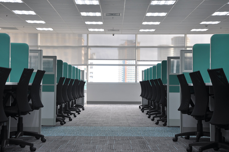 business premises showing office chairs and cubicles