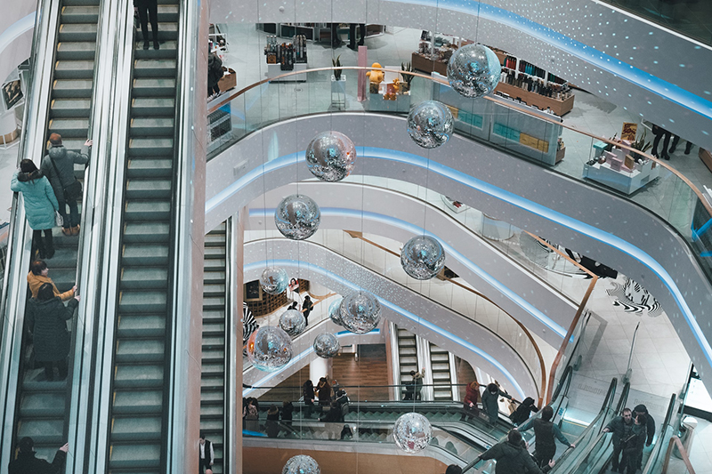 view from upper floor or retails store looking down to various floor levels