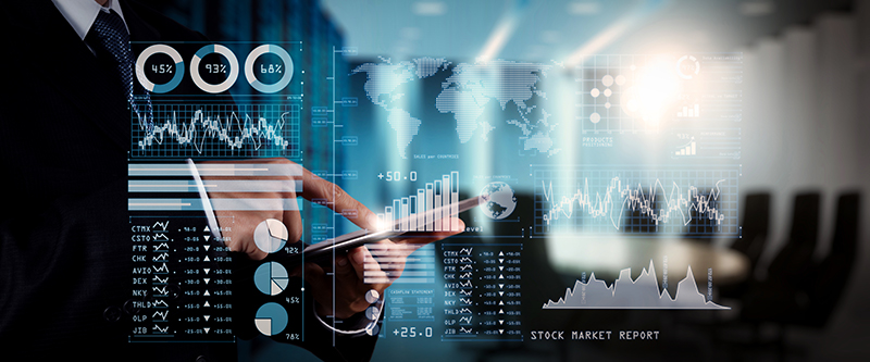 Investor analyzing stock market report and financial dashboard