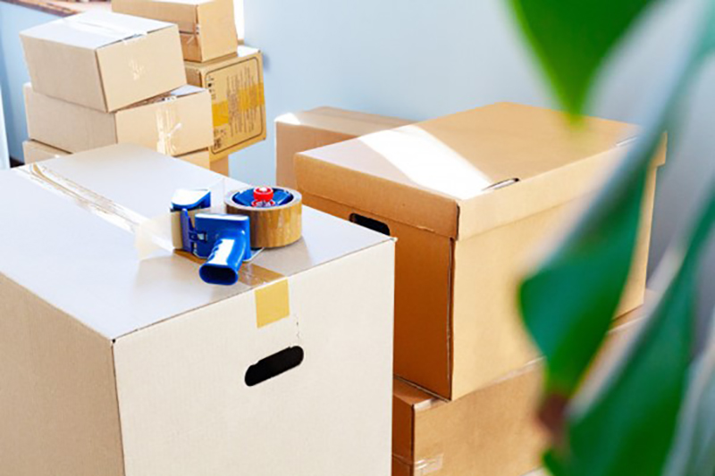 Brown boxes and packaging tape