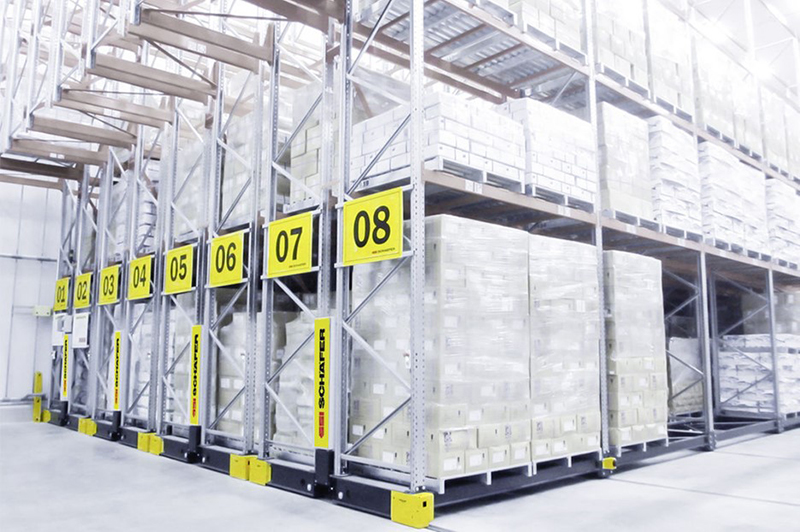Movable Pallet Rack with numbering label