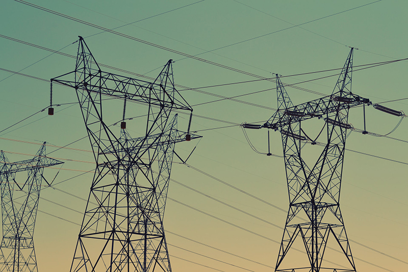 Black transmission towers