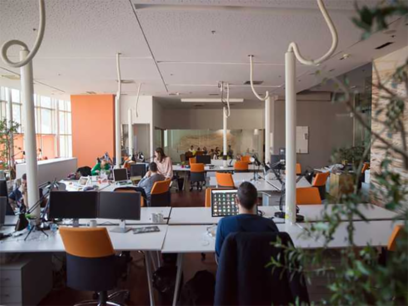 People working in flexible office space