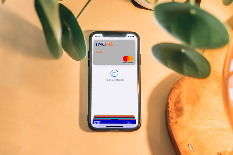 Turned on Moblile phone with banking apps on the screen