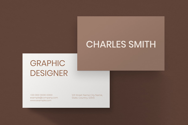 brown business card - front and back