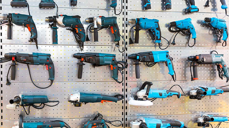 Drilling tools on the wall