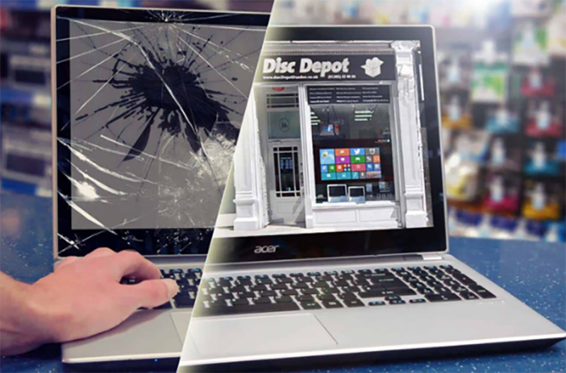 laptop image split with damaged screen and repaired screen