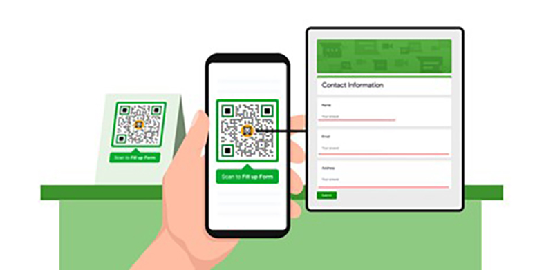 contactless QR code on smart phone - illustration