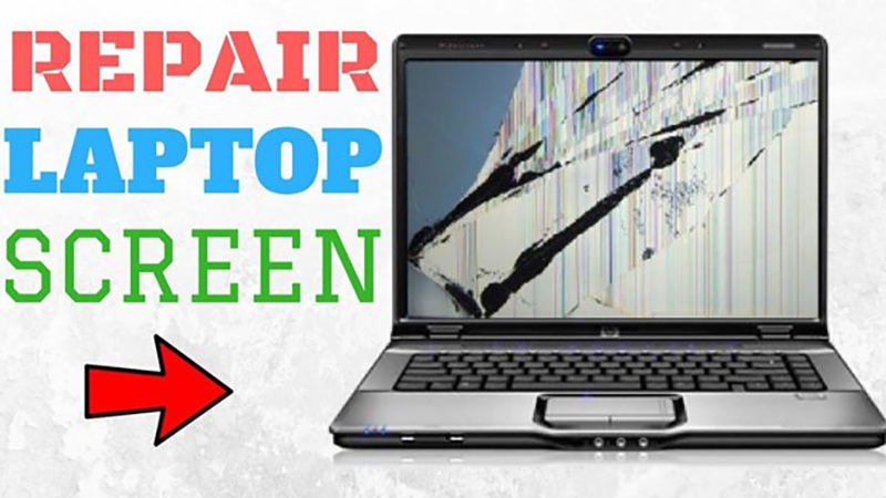 Laptop with damaged screen and words repair laptop screen