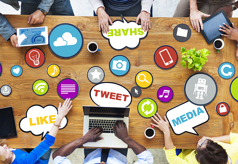 people around brown wooden table and Social media concept