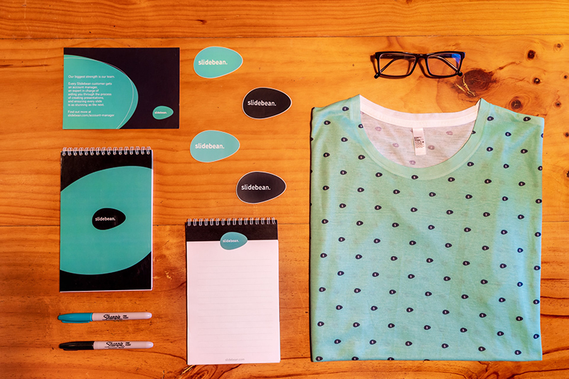 Flat lay of items and products representing branding and brand