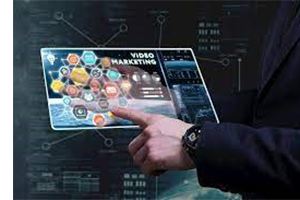 Person showing video marketing concept on iPad screen