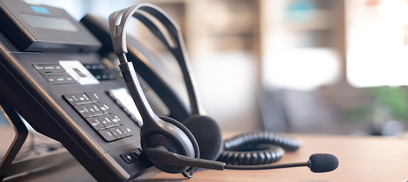 VOIP headset for customer service support (call center) concept