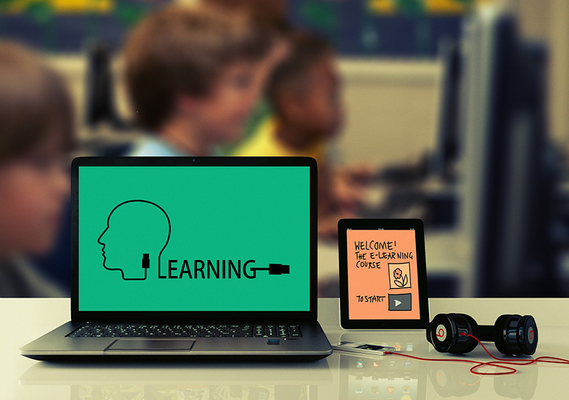 E-learning concept on computer screen