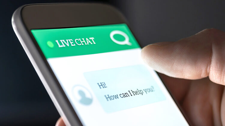 Customer service and support live chat with chatbot and automatic messages