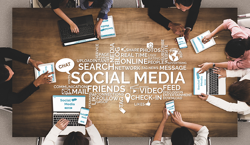 Social media and young people network concept.