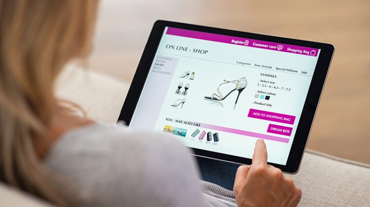 Woman buying lady shoes online