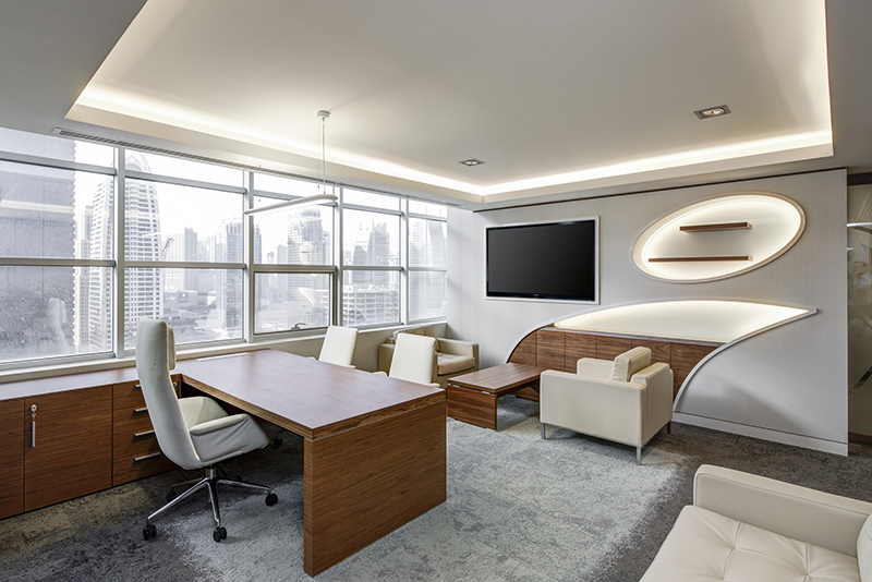 Fancy office painted in gray and white
