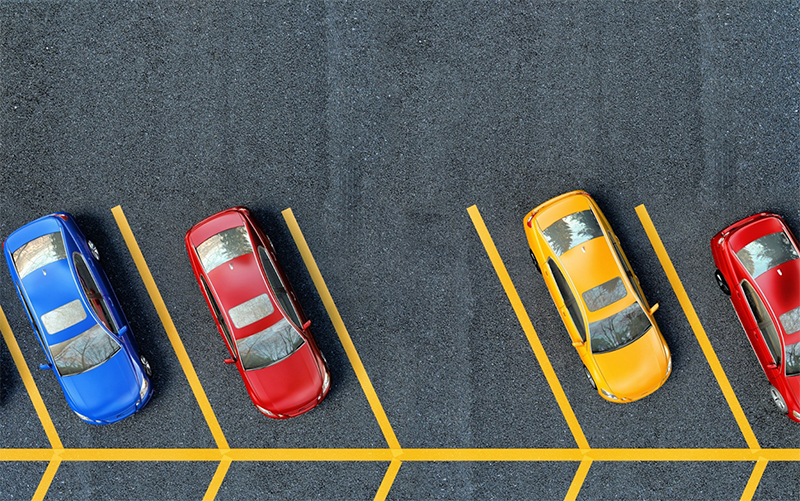 parking lot with colourful cars