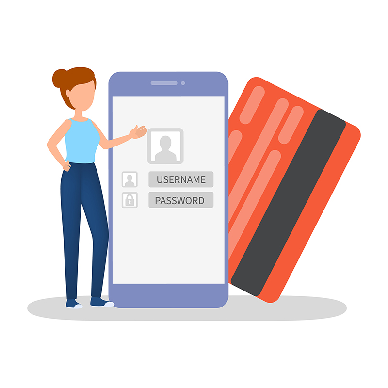 Woman standing at mobile phone and credit card.
