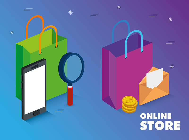 online store with smartphone and icons illustration