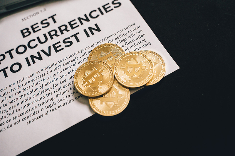Bitcoins on top of newpaper