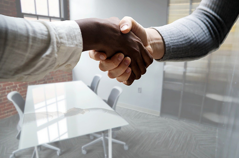 Two person handshaking for job interview