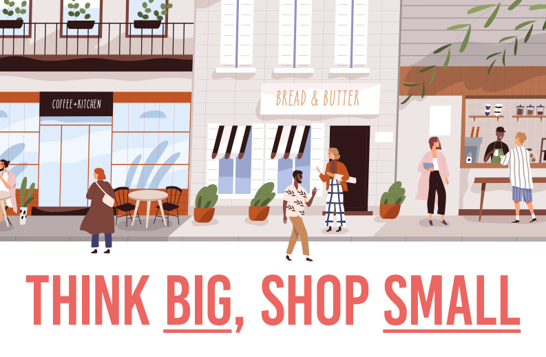 Illustration of people shopping in local shops - shop small