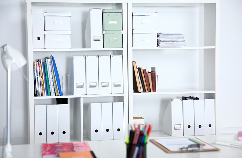 File folders, standing on the shelves in a home office