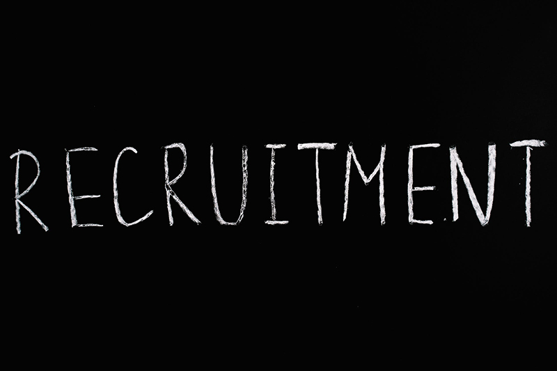 recruitment text with black background
