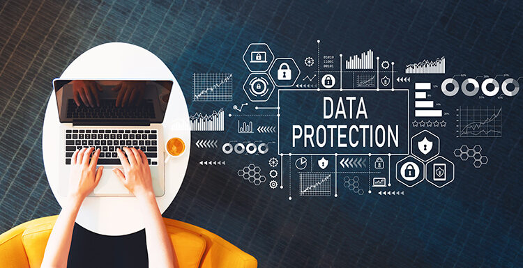 Data protection with person using a laptop