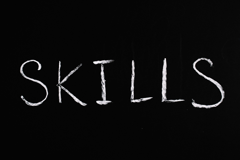 Skills text in black background