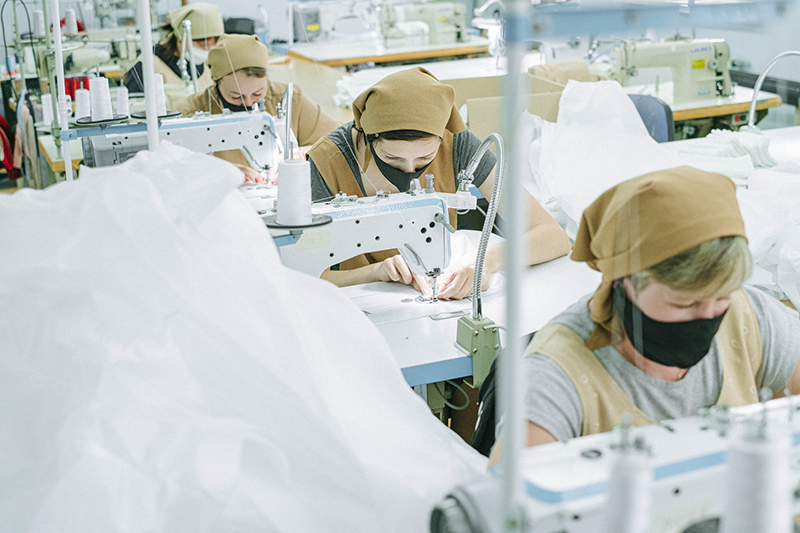 Women working in sewing factory