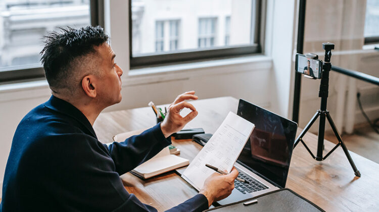 Man having an online education session