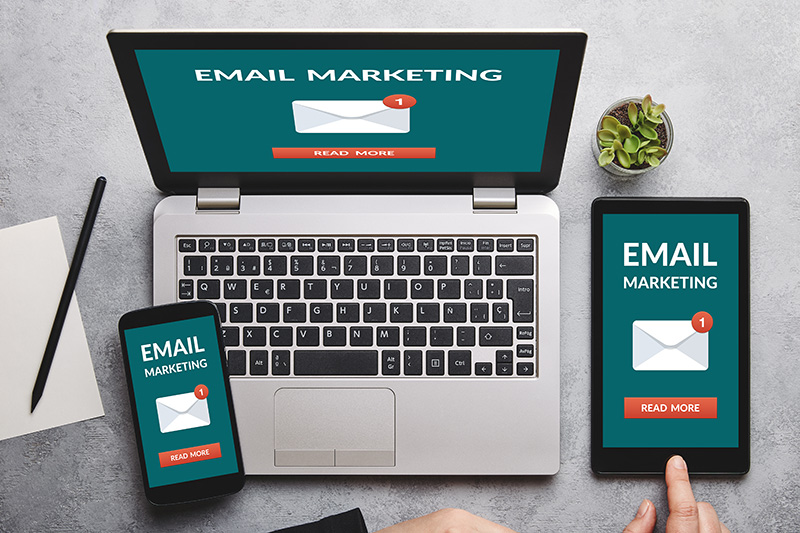 Email marketing concept on laptop