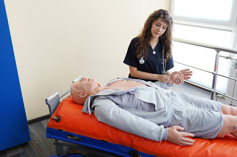 CPR training with CPR doll