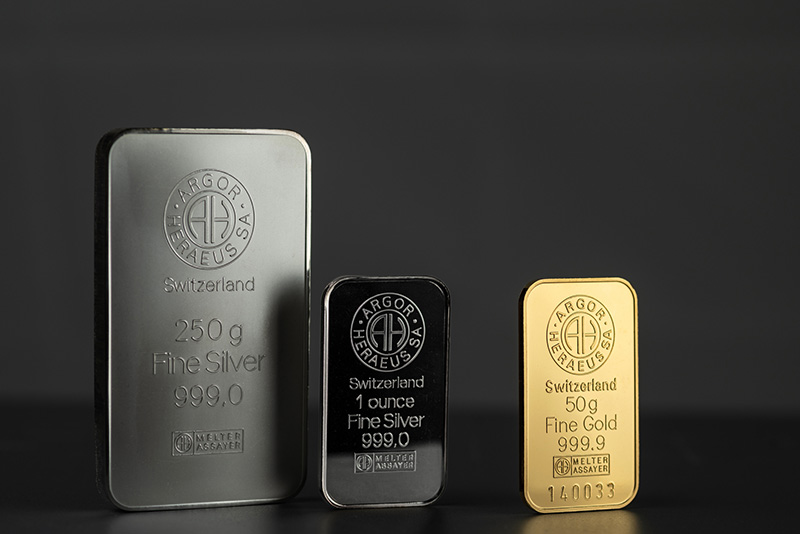 Silver and Gold Bars produced by the Swiss factory Argor-Heraeus